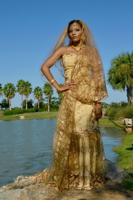 African wedding dress golden prints for Www african wedding dresses
