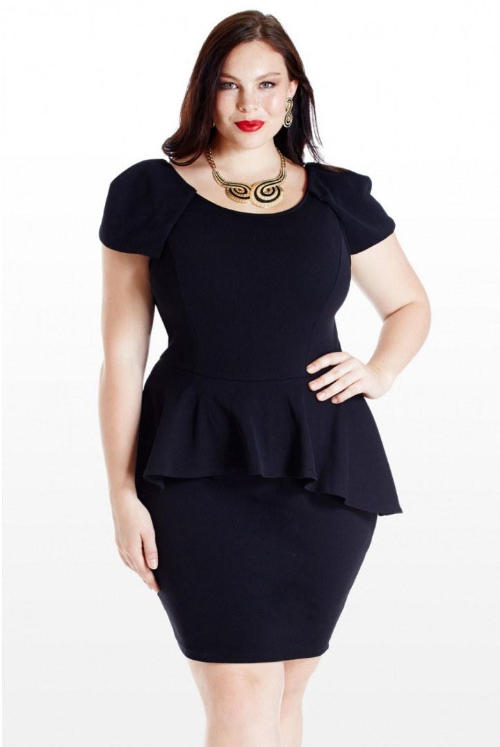 plus size peplum dress short sleeves - FMag.com