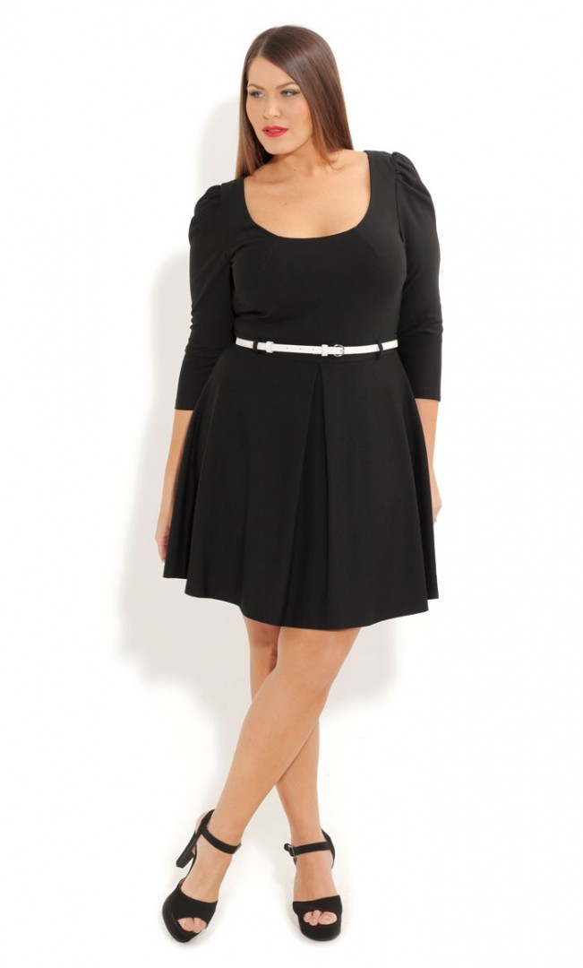 plus size skater dress long sleeves - FMag.com