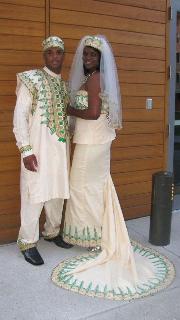 Traditional cream african wedding dress for Nigerian traditional wedding dresses pictures