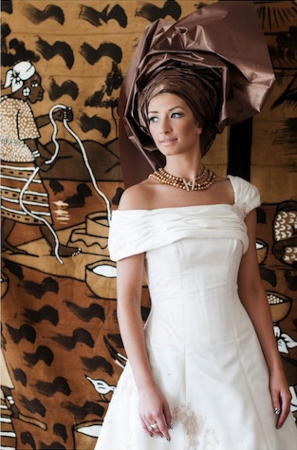White african wedding dress brown gele for Brown dresses for a wedding