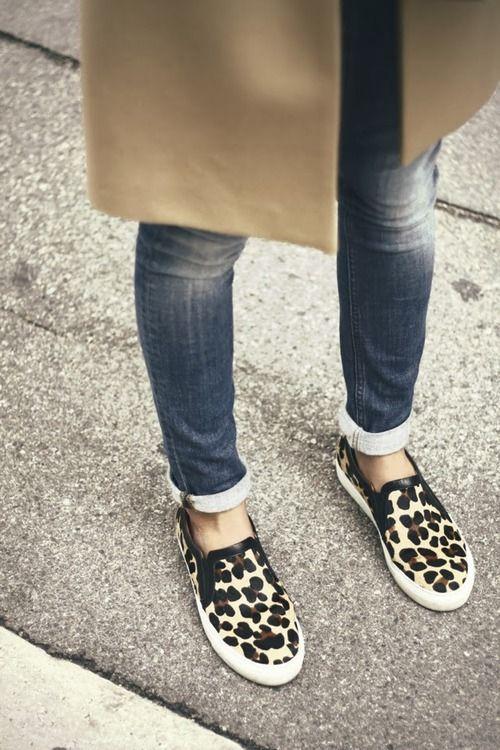 animal print slip ons plus skinny jeans