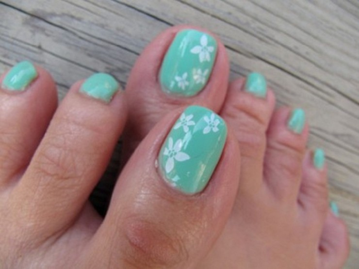 Blue And White Flower Cute Toe Nail Design Fmag