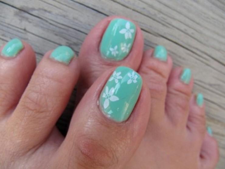 blue and white flower cute toe nail design fmagcom