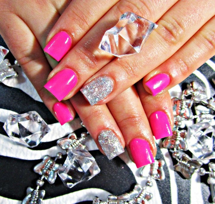 Neon pink acrylic nails - FMag.com