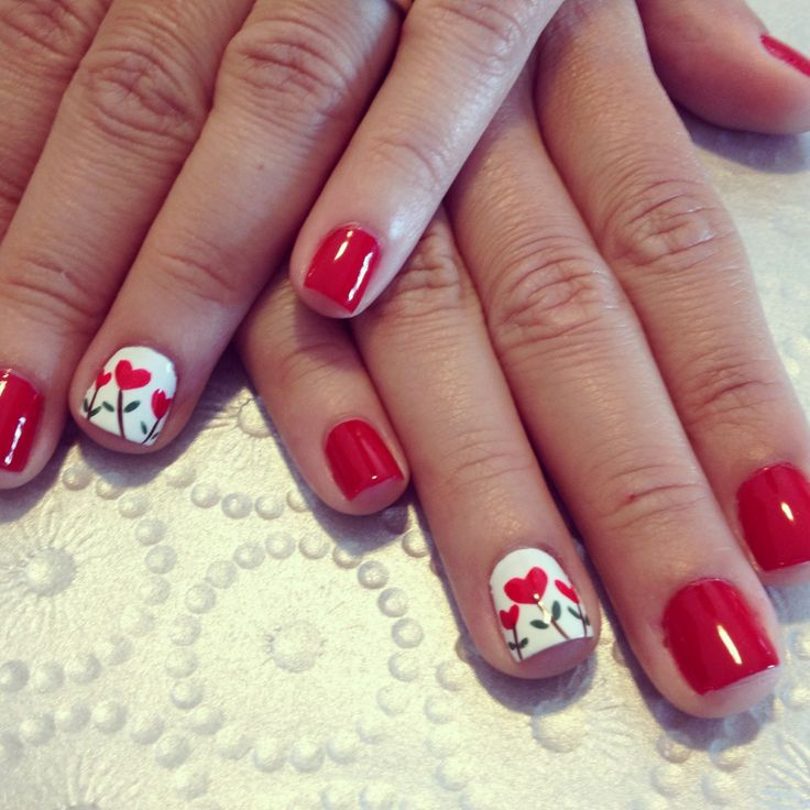 Red nails design heart flowers - Red Nails Design Heart Flowers - FMag.com