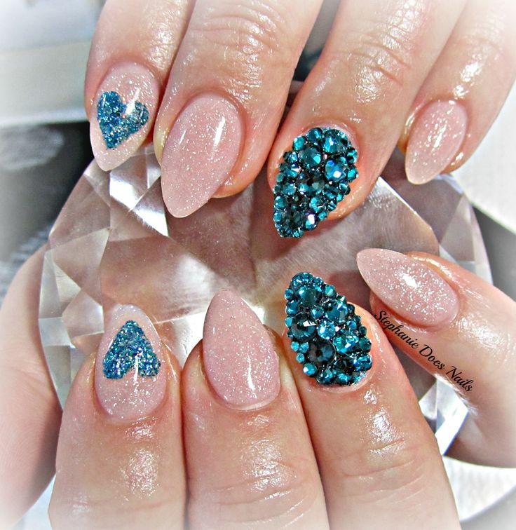 Teal Heart Acrylic Nails
