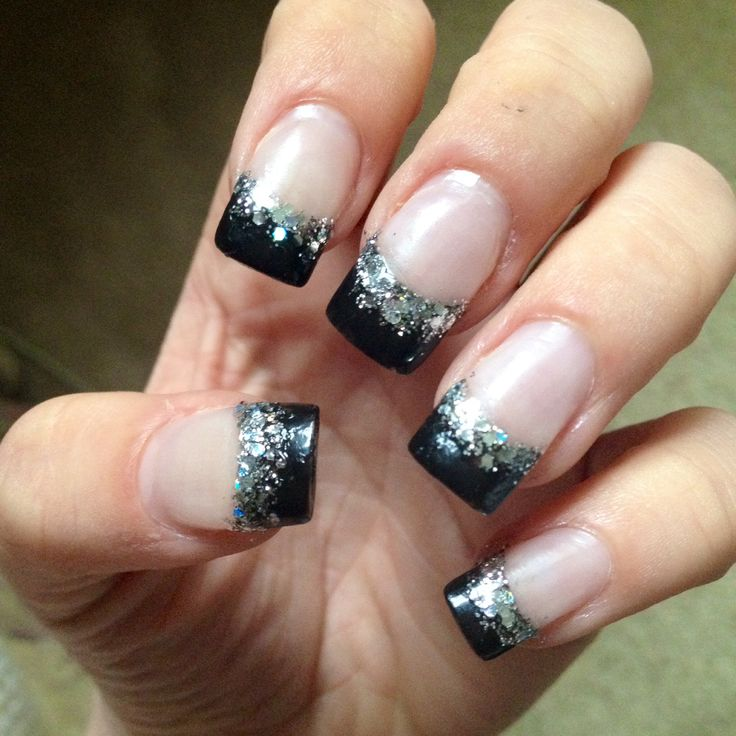 Black Acrylics With Silver Tips Fmag
