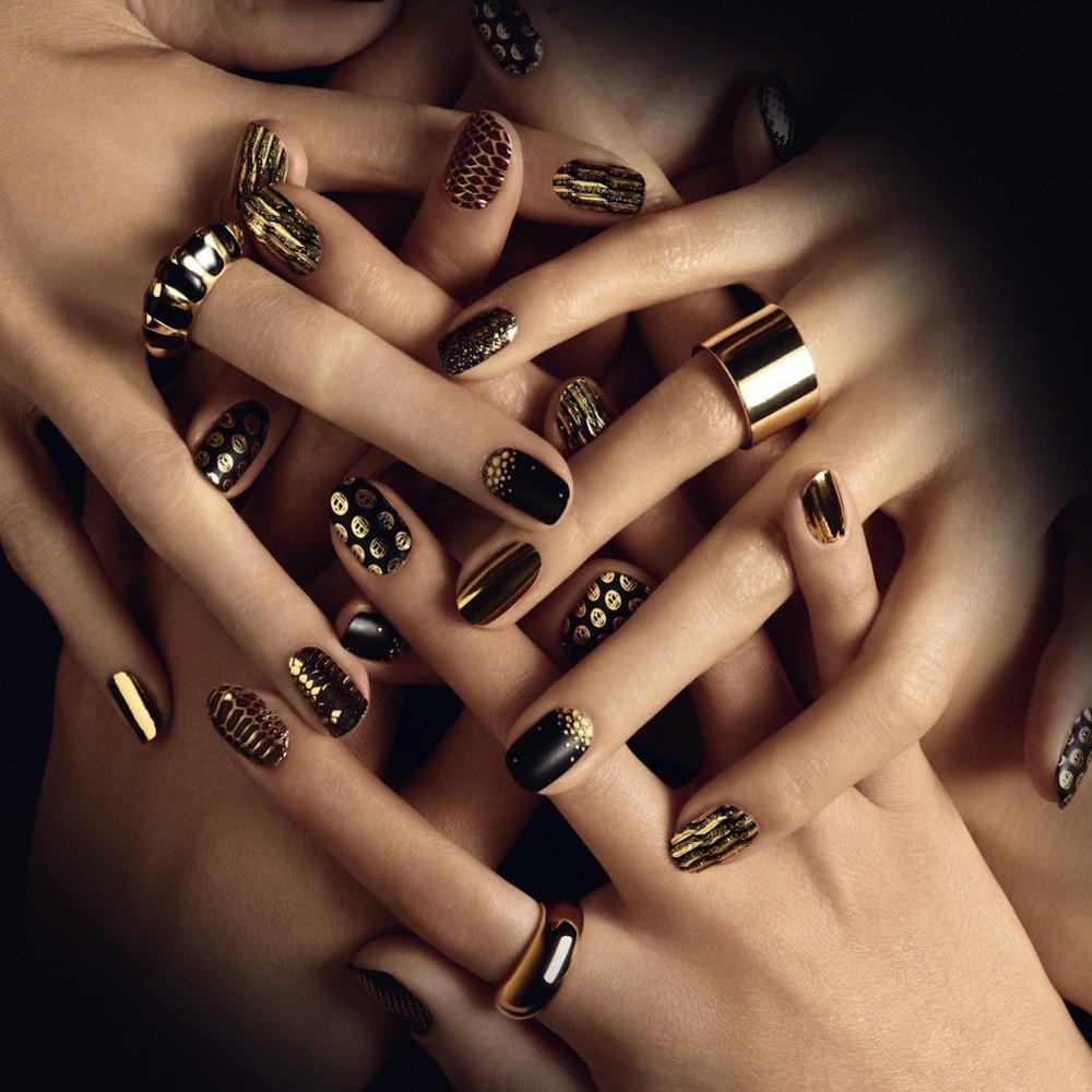 black gold nail design - FMag.com