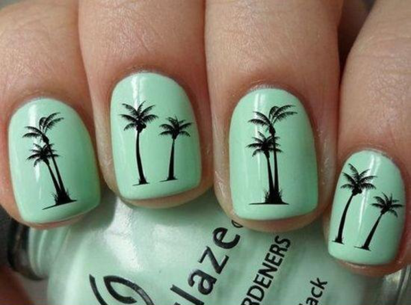 cool mint palm tree nail design - FMag.com