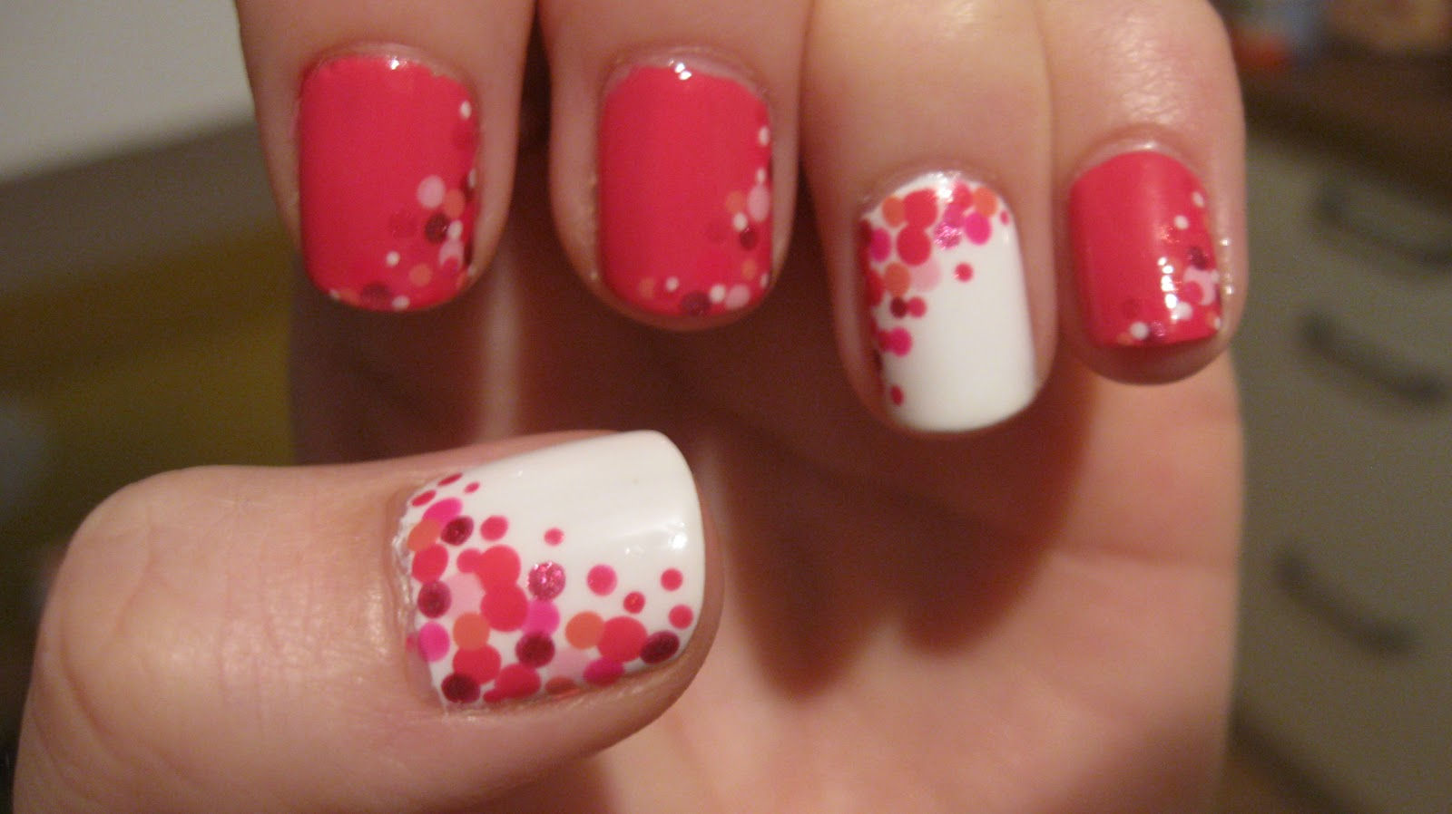 White color nail art - The Trendiest Pink And White Nails Pink And White Nail Art