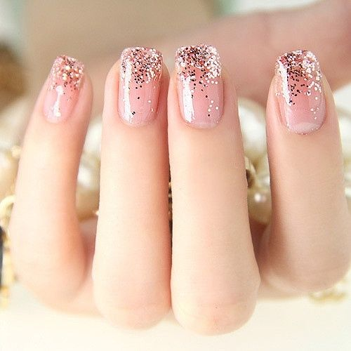 Pink Glitter Gel Nails Pink-nails-with-gold-glitter