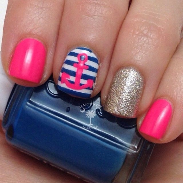 pink nautical unique nail designs - Pink Nautical Unique Nail Designs - FMag.com