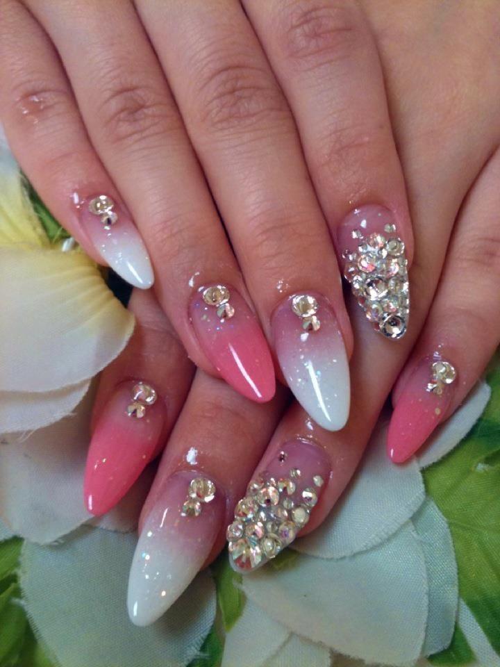 pink white acrylics swarovsky stones - FMag.com