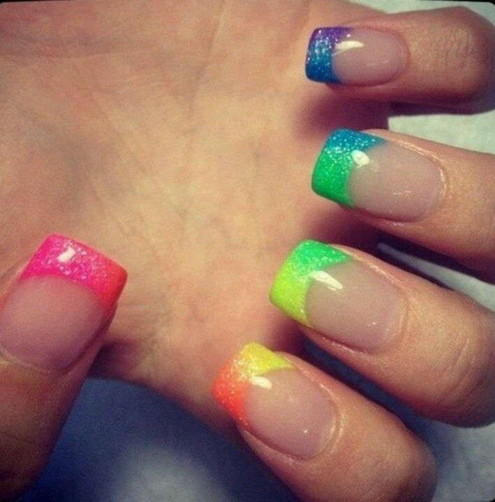 rainbow French manicure sparkly nails - FMag.com