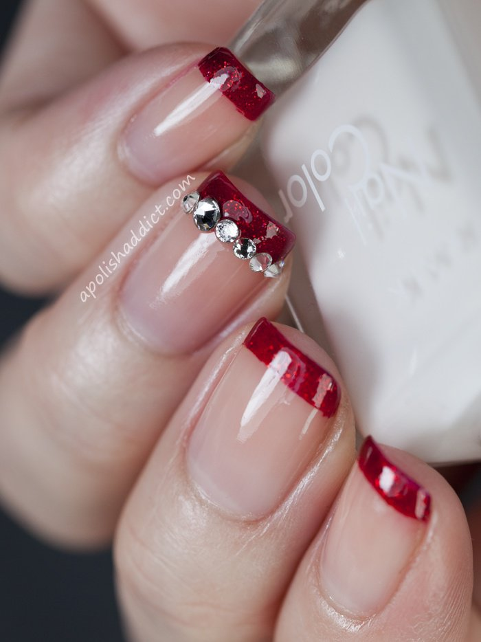 Red Nails With Glitter Tips