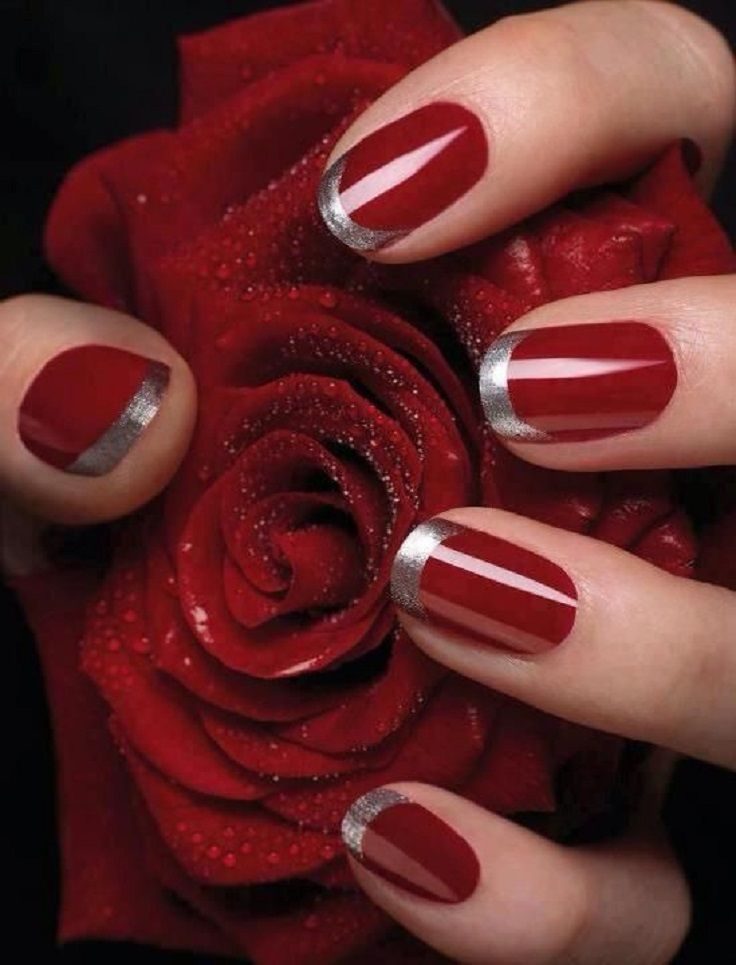 red nails glitter tips - FMag.com
