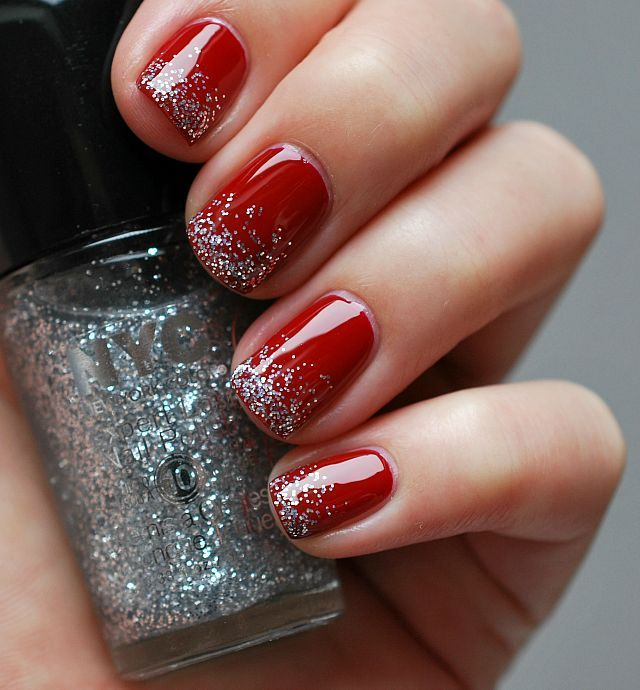 Red Nails Silver Tips Fmag