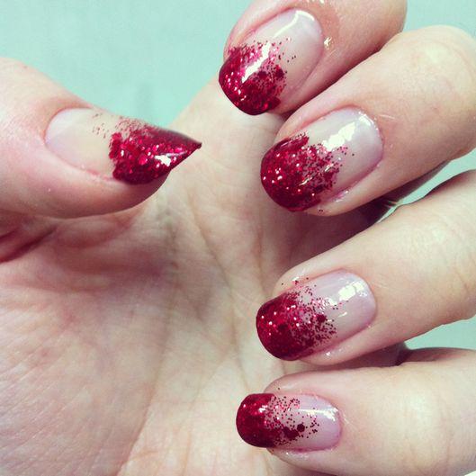 Red Ombre Glitter Manicure Fmag Com