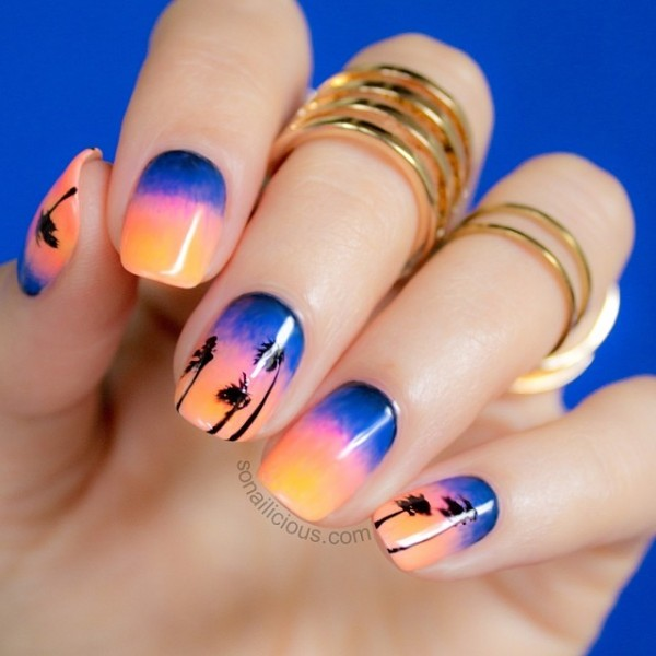 sunset beach palm tree nail design - FMag.com