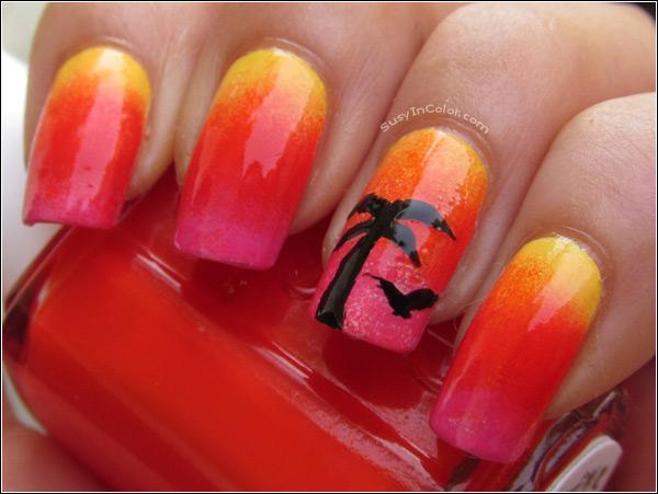 tropical palm tree nail design - fmag.com