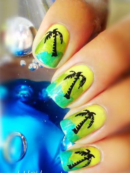 Yellow And Green Nail Art Design Fmag