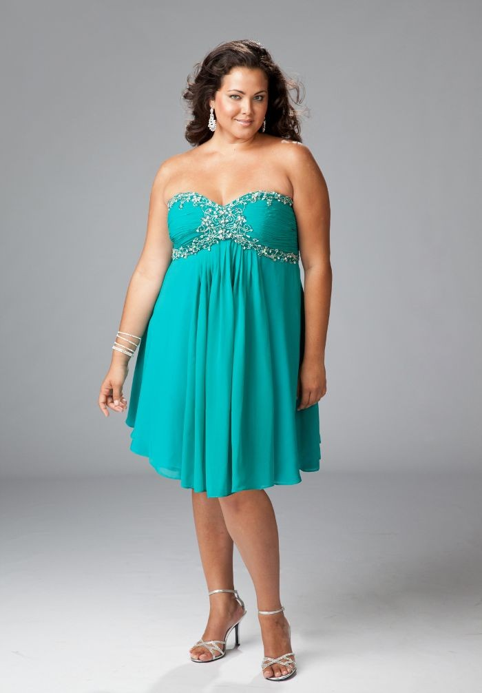 chiffon strapless sweetheart a line plus size cocktail dress