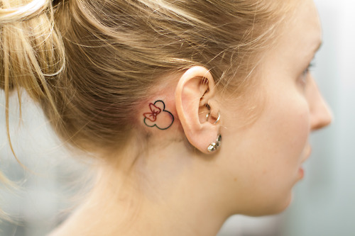 Minnie mouse for Cute tattoos behind the ear