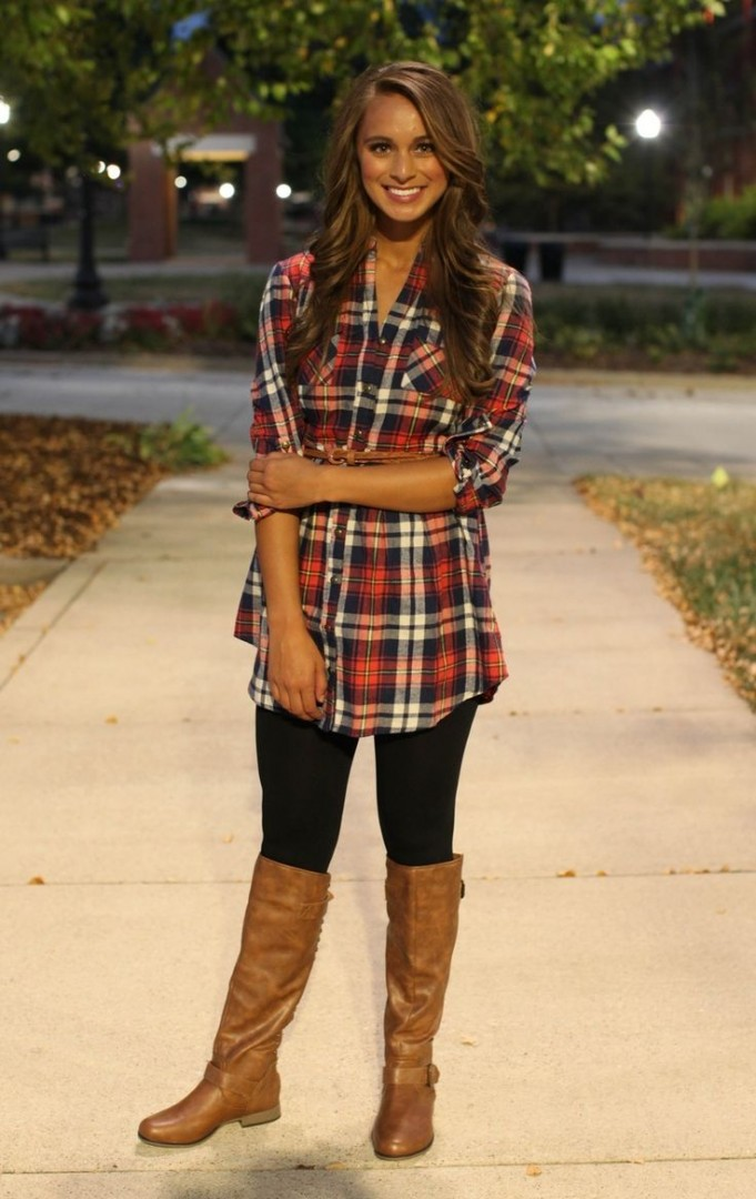 plaid shirt dress with leggings