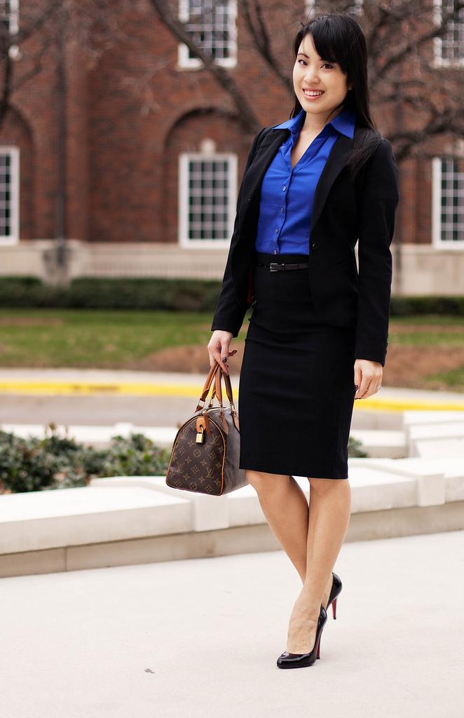 Black Skirt   Blue Shirt   Blazer - fmag.com
