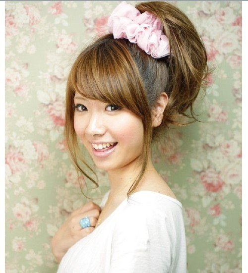 Cute High Ponytail With Side Swept Bangs Fmag Com