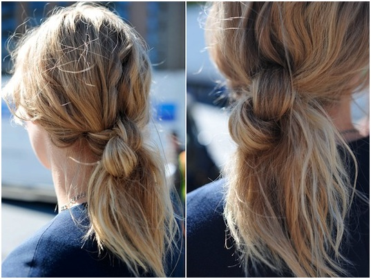 Messy Knotted Ponytail Hairstyle for Medium-Length Hair - fmag.com