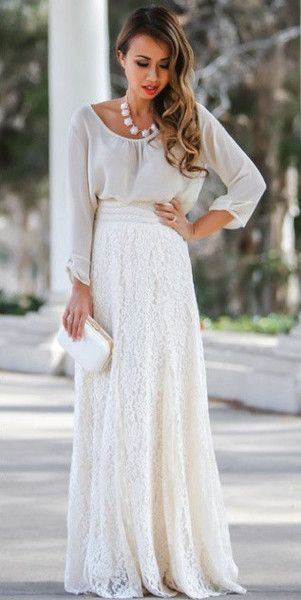 daa032376 Lace maxi skirt outfit - FMag.com