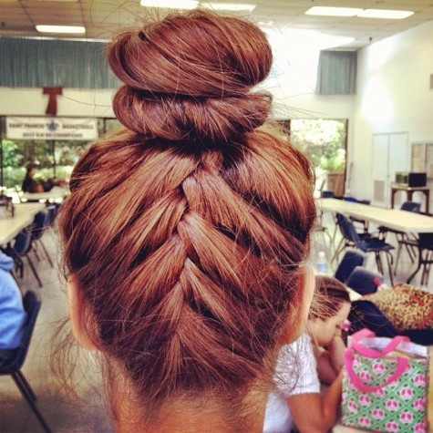 Image result for french braid topknot