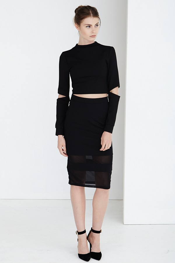black cropped top and pencil skirt fmag