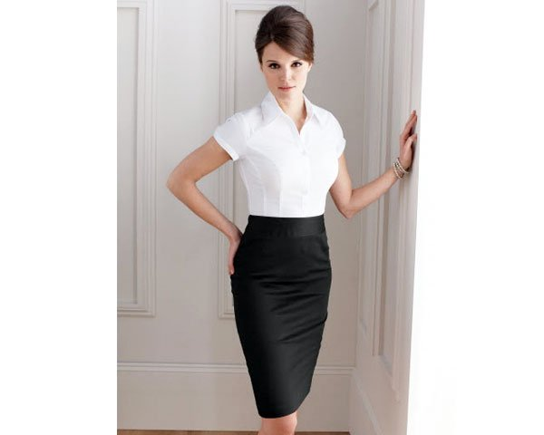 Black Pencil Skirt With Short Sleeve Button Down Blouse