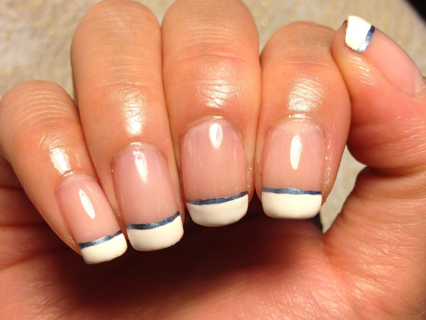 French Manicure with Metallic Blue - FMag.com