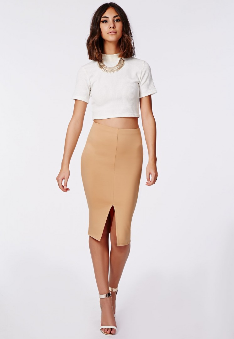 Front Split Camel Pencil Skirt - fmag.com