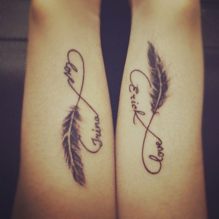 Infinity Symbol With Name And Feather Cute Couple Tattoo Fmag