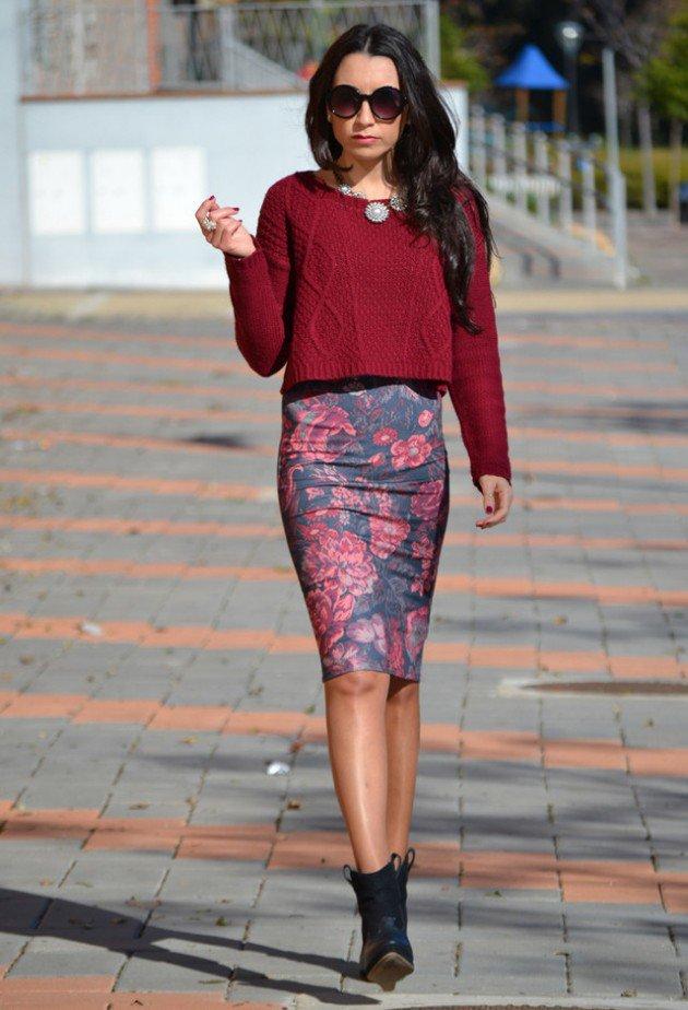 knitwear crop top flower pencil skirt boots fmag