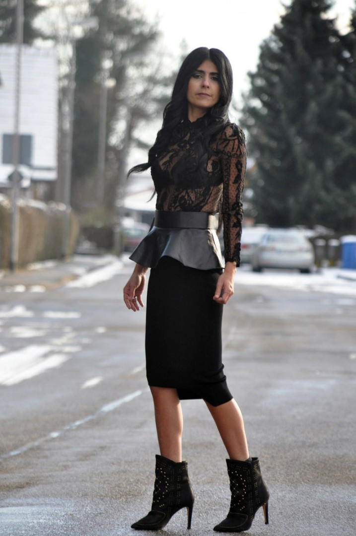 leather peplum belt lace blouse asymmetric pencil skirt