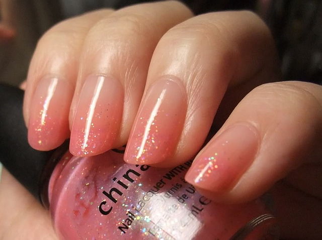 Peach To Clear Gradient Nails Fmag Com