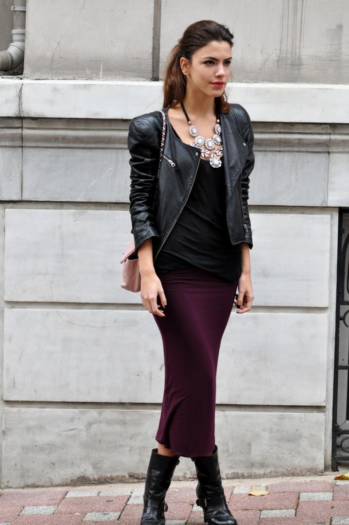 pencil skirt black top leather blaser black boots