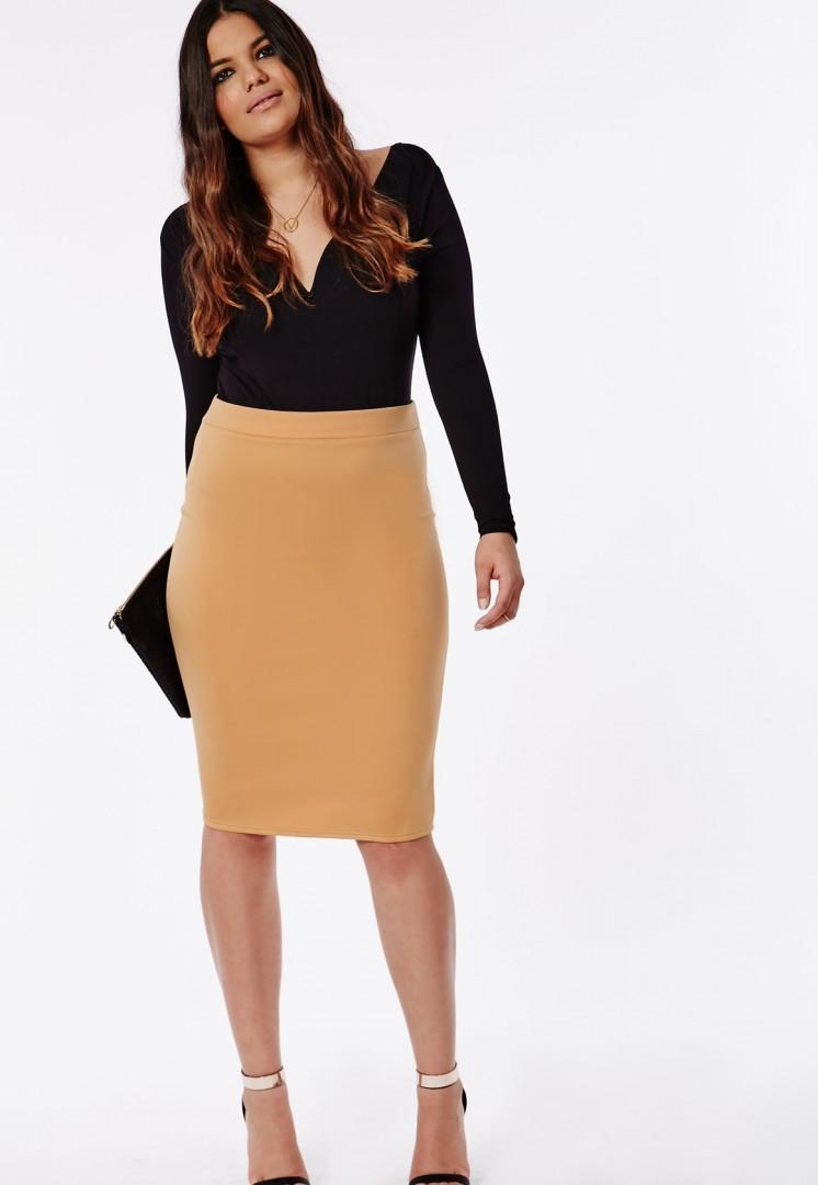 Plus Size Bodycon Camel Pencil Skirt - fmag.com
