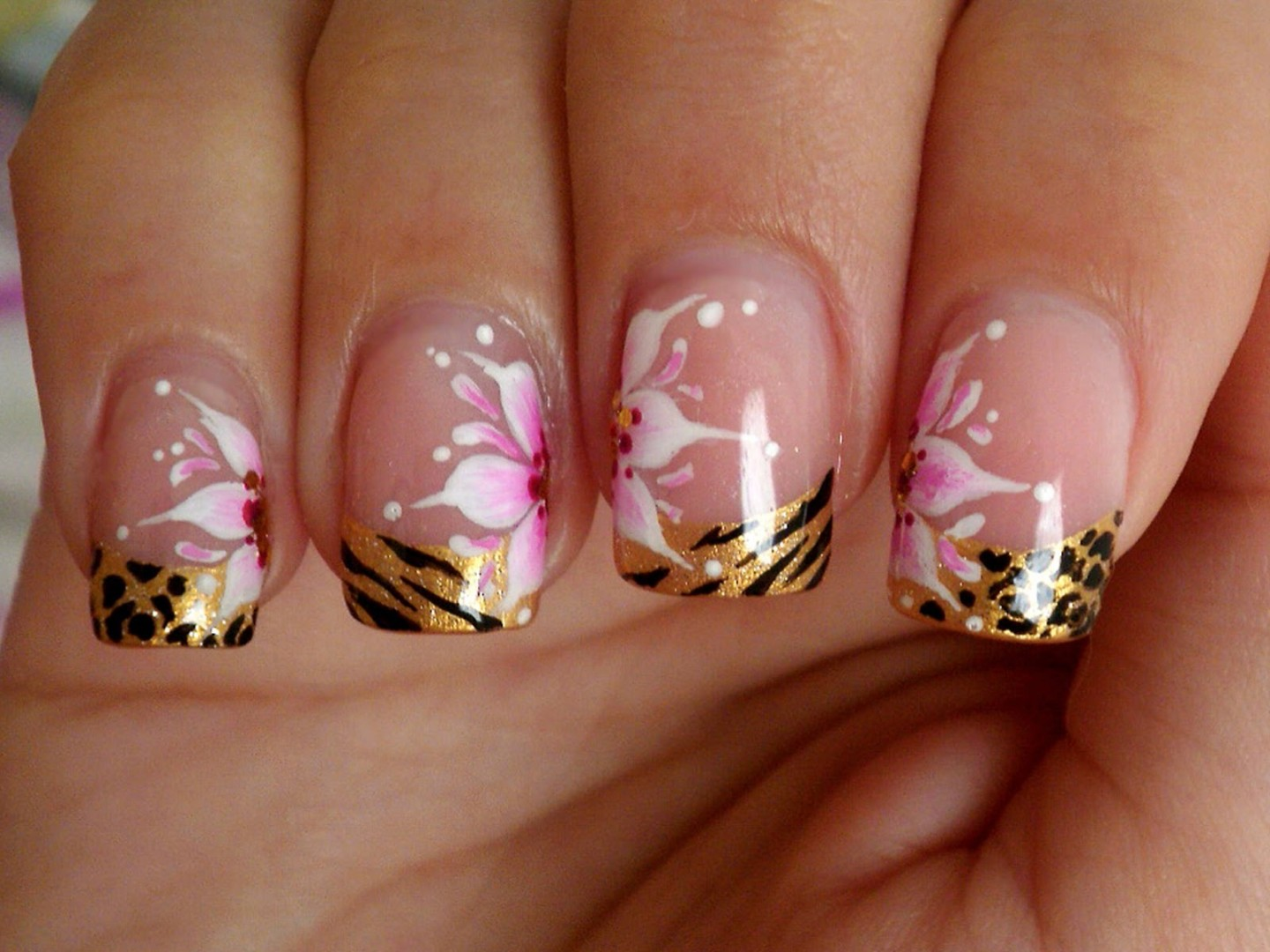 Animal Print French Tips with Flowers Nail Design - FMag.com