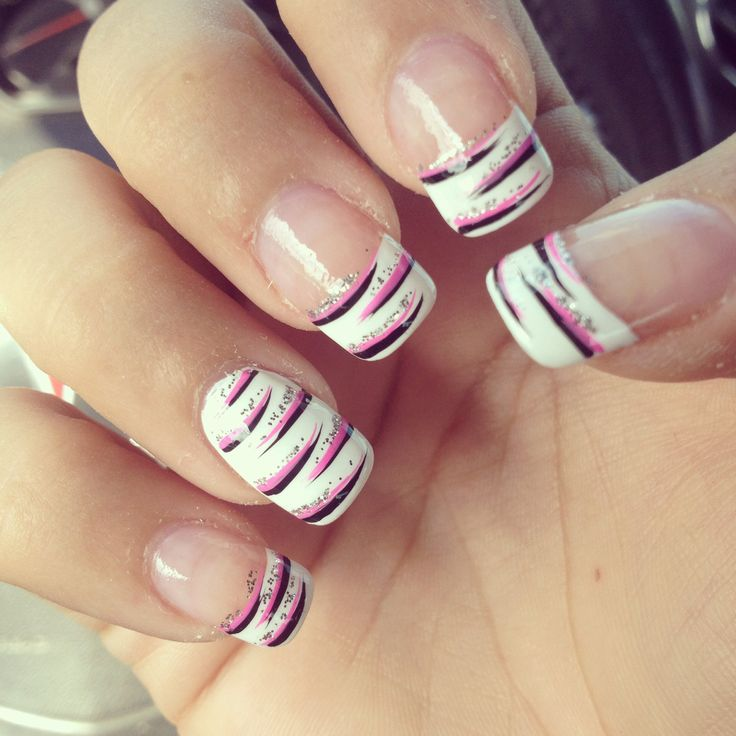 Black And Pink Zebra French Tips With Glitters Fmag