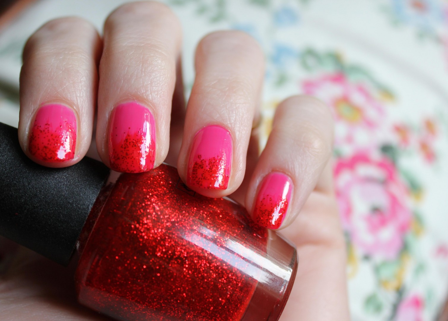Cassiefairy Pink and Red Ombre French Tip nails - FMag.com