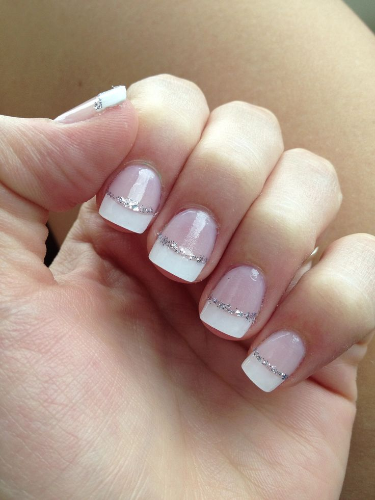French Tip Nails with Silver Glitter Line - FMag.com