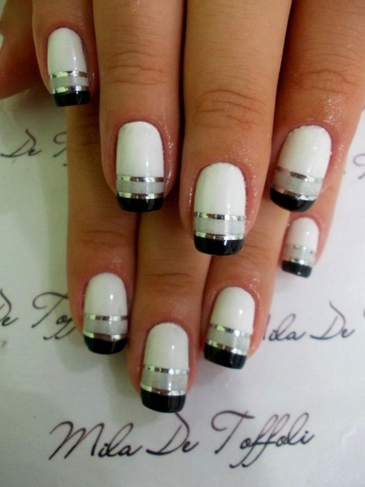 White French Manicure with Black French Tips with Silver Lining ...