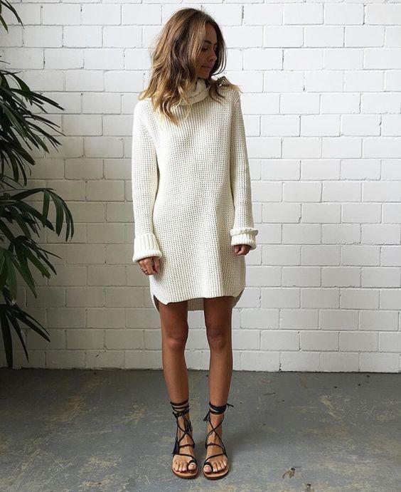 White Turtleneck Dress  11 Amazing Outfit Ideas - FMag.com 45b5c65f9
